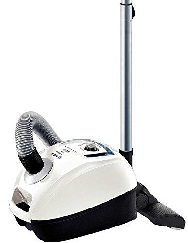 Bosch BGL4SIL69W GL-40 ProSilence - Aspirador trineo con bolsa, diseño compacto, cepillo especial parquet, funcionamiento silencioso 69 dB(A), clase A-A-A,color blanco