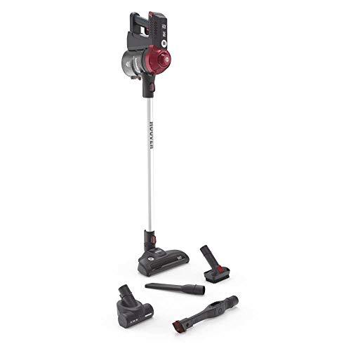 Hoover Freedom Fd22Rp Escoba Eléctrica Sin Cable Y Aspirador de Mano, Especial Mascotas Y Alergias, 0.7 litros, Gris Pearl/Rojo Metálico Intense