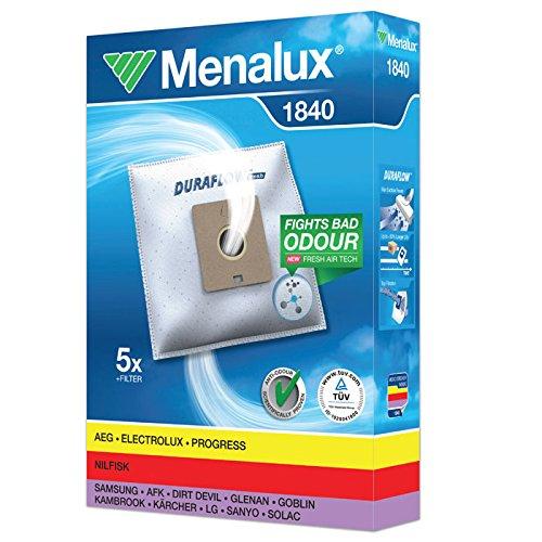 Menalux 1840 Pack con 5 bolsas y 1 filtro para aspiradores AEG, Dirt Devil, LG, Nilfisk, Privileg y Samsung, Blanco