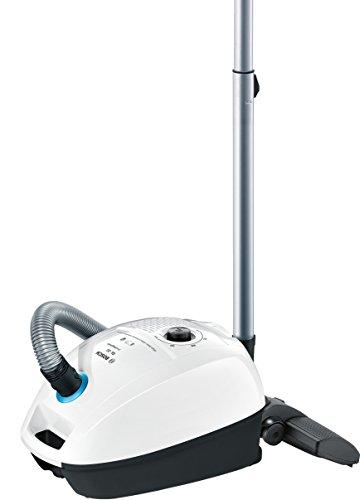 Bosch ProHygienic Aspirador con bolsa, 600 W, 4 litros, 77 Decibelios, Blanco/azul metálico